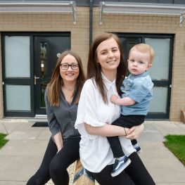 Nicole Cleugh and Megan Linton at their new home