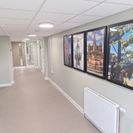 Images of Glasgow on walls of Bellrock St Livingwell complex