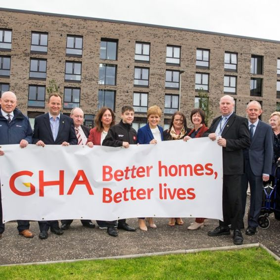 First Minister Nicola Sturgeon at  GHA Ibrox new-builds