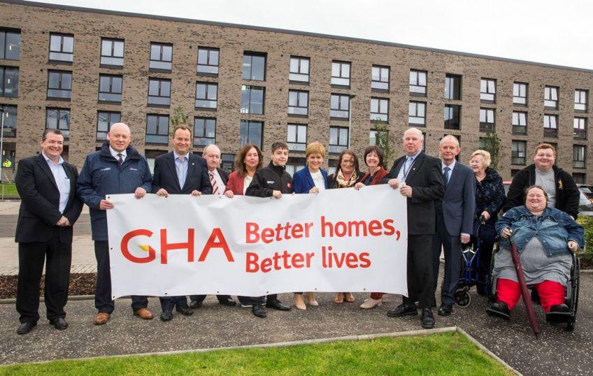First Minister Nicola Sturgeon at  GHA Ibrox new-builds