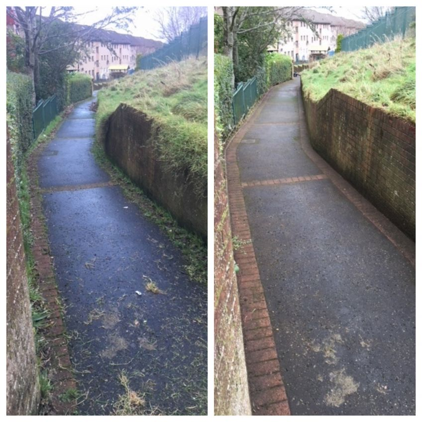 Castlemilk path before and after