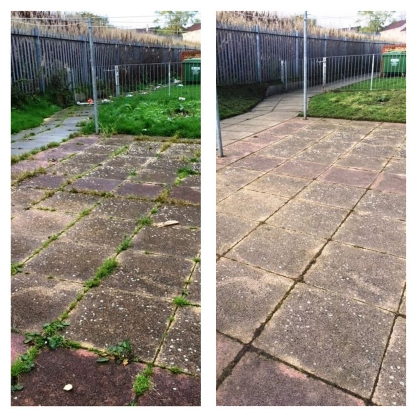 Glenkirk Drive before and after drying court